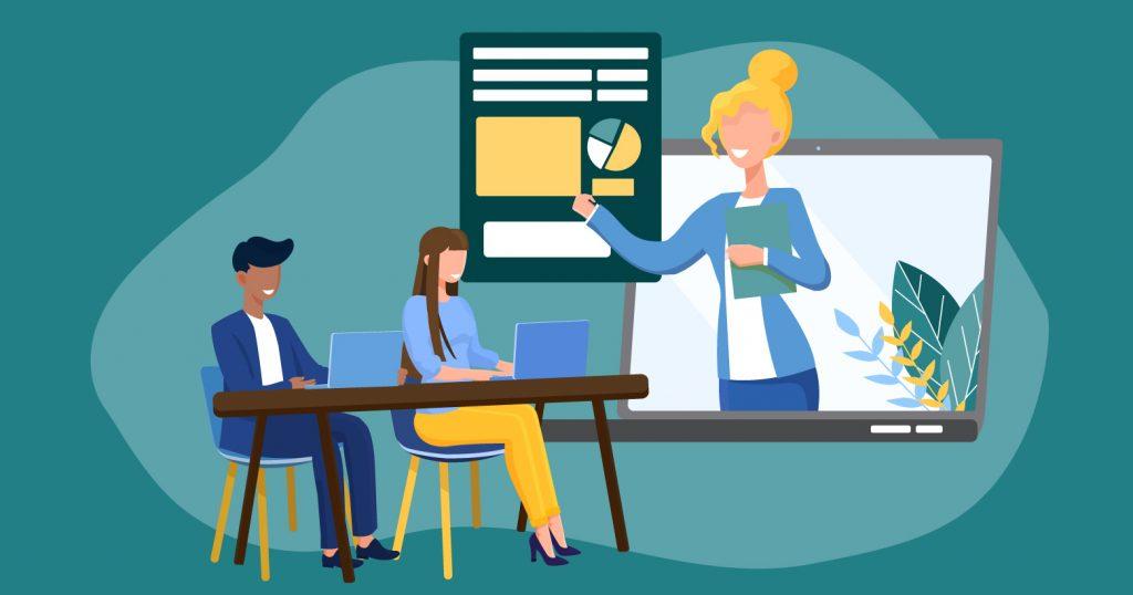 Illustration of woman coaching hotel digital marketing class
