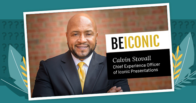 headshot of Calvin Stovall and Be Iconic logo