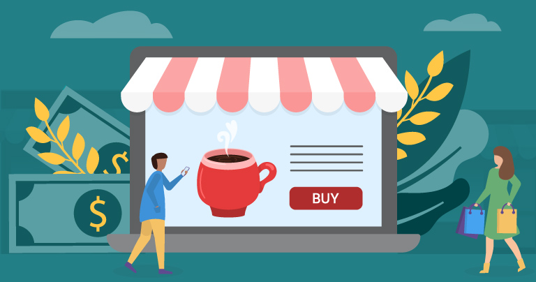 graphic representing an online store